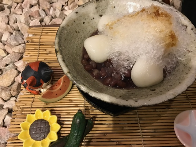 豆とくるみの夏メニュー「氷ぜんざい」の写真。福井の女性を応援するくらし情報、くらしくふくい。