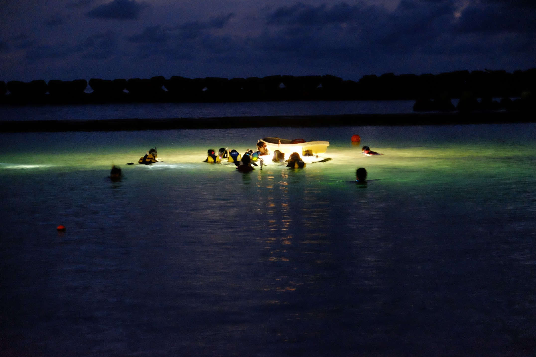 夜の海を除くナイトシュノーケルイベントの写真